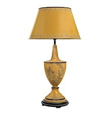 Lampa helt i plåt, handmålad, gul botten