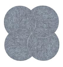 Bordskåner - Grey - 4 stk. - Sæt - Moon - Filt - D 18,0cm - H 0,8cm - Sleeve