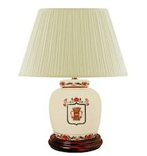Lampfot, 22,5 cm, Vasakärve på vit botten