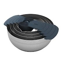 100 Nest beredningsskålset med måttbägare borst stål/grå