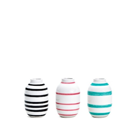 Kähler Omaggio vas miniatyr 3-pack Svart/Rosa/Ljusgrön H 8 cm
