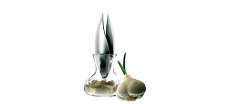 Vitlökspress med glasbehållare, rostfritt stål