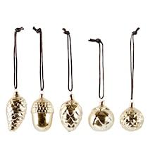 Figur - Kogle - 5 ass. - Keramik - Guld - Blank - D 3,0cm - H 6,1cm - Stk.
