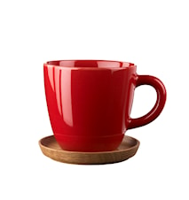 Höganäs Kaffekrus 33 cl æblerød blank med træunderkop