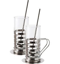 Irish Coffe set rostfri 2-pack glas bricka sked 6 delar