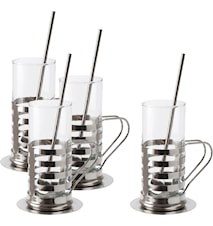 Irish Coffee set 4-pack 12 delar rostfritt bricka sked glas 4-p rymd