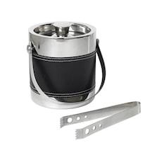 Isspand stål/læder look - 18,5 cm