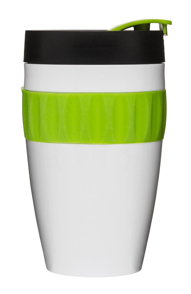 To Go mugg, vit/grön/svart
