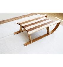 Släde soffbord med matta snövit