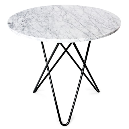 O Table Matbord Svart/Matt Vit Marmor Ø80