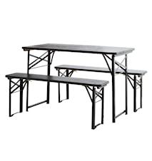 Trädgårdsbord med bänkar 75x60x118 cm - Svart