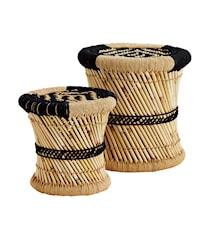 Natural black bamboo pallar - Set om 2