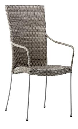 Sika Design Saturn stol - Med armstöd, teak grå
