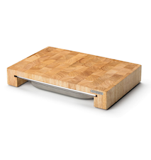 Skärbräda med låda, gummiträ, 39x27x6 cm