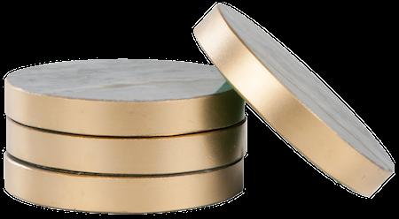 Svensk Marmor Lasinalunen Sininen Marmori / Kulta 4-pack Ø 8,5 cm