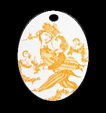 Oval platta, Victoire, orange, 15x19 cm