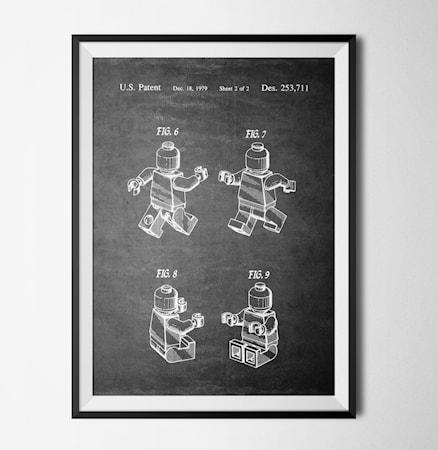 Bild av Konstgaraget Patent lego black poster