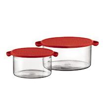 Hot Pot Skålset med Silikonlock 1 och 2,5 liter Röd