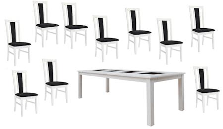 Jasmine möbelgrupp - Vit, 240 matbord & 10 stolar