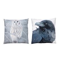 Prydnadskudde 2 st. med Fåglar 50x50 cm