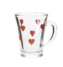 Glögglas hjärtan mönster 4-pack