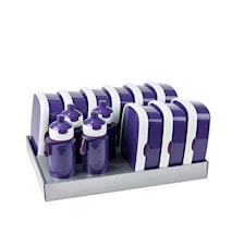 Matlådsset inkl. vattenflaskor Violett 13-delar