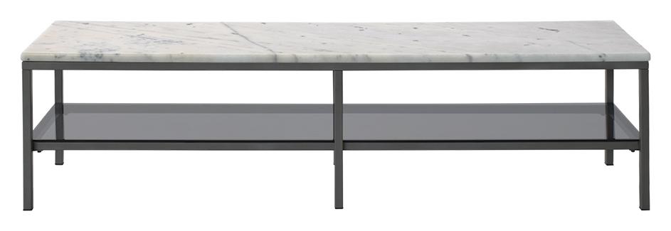 Ascot mediabänk – Ljus marmor, grå lack