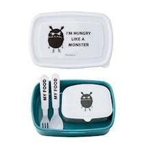Lunchbox Barn med Bestick Monster Blå