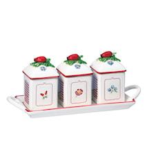 Petite Fleur Charm syltkanna set 3pcs w. tray