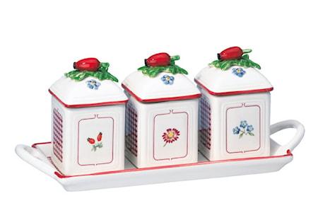 Villeroy & Boch Petite Fleur Charm Hillopurkki setti 3 kpl vadilla