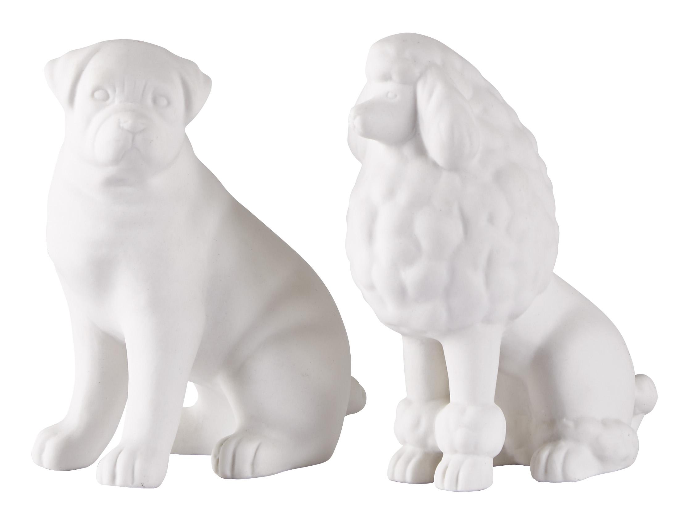 Figur Hund Keramik Vit 16 cm