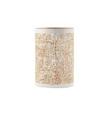 Ljuslykta Ø 8x12 cm - Vit/guld