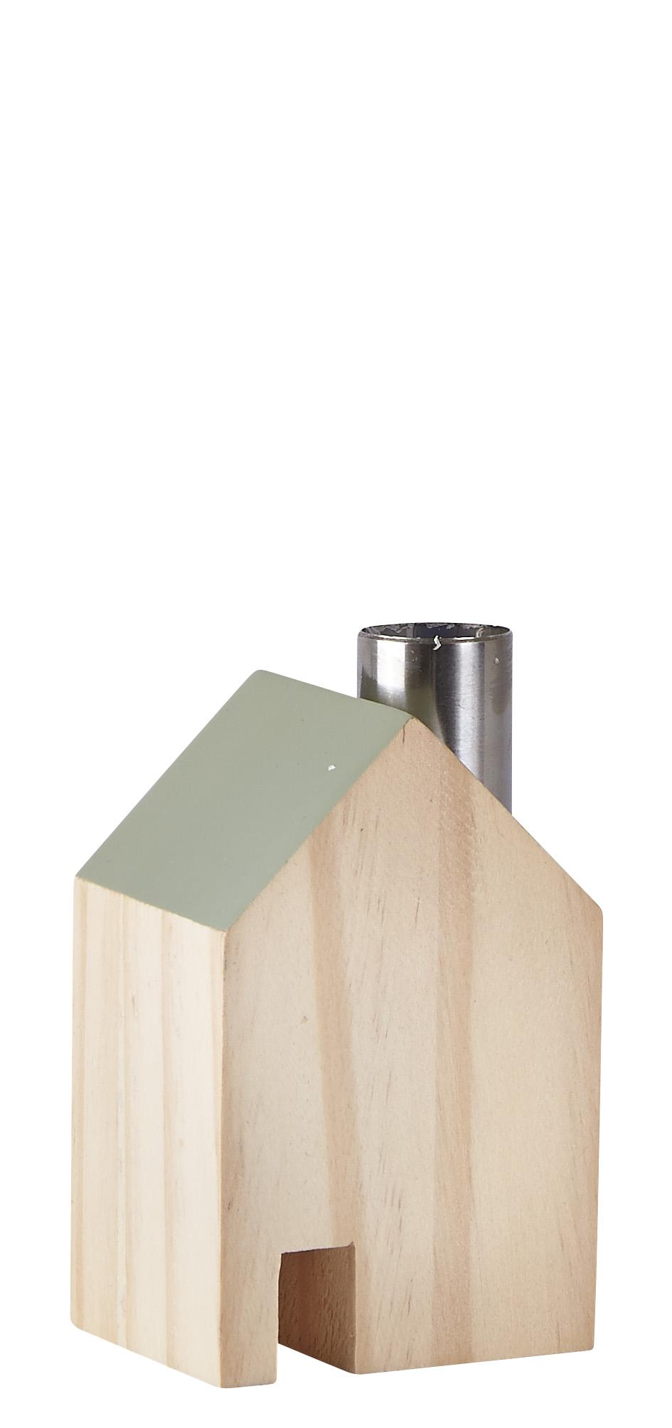 Figur Hus Metall/Grön 10 cm