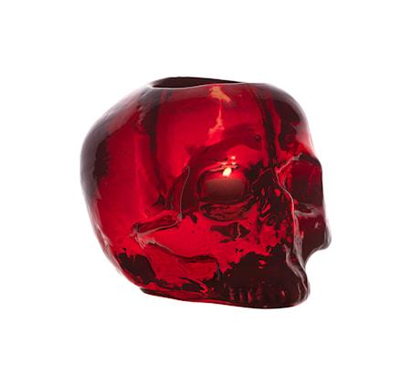 Bild av Kosta Boda Still Life Skull Röd Ljuslykta Ø 11,5 cm