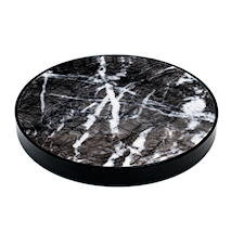 Svart marmor glasunderlägg - Svart kant
