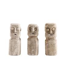 Skulptur Head 3 st Sand Stone 15 cm