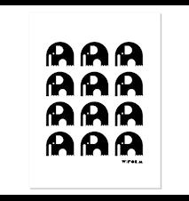 Elephants poster – Svart/vit