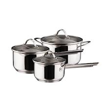 Kasserollesæt 3 dele kasserolle 1,5 2,0 gryde 3,0 liter