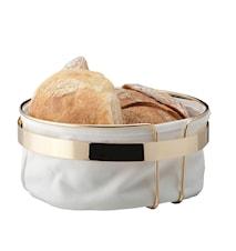 Brödkorg rund mässingspläterad vit tyg diameter 22 cm