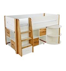 Curve Loftsäng med utdragbart skrivbord och skåpsförvaring - Ek