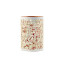 Hessian ljushållare white/gold h12 cm