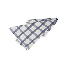 Handduk rutig vit/ljus blå
