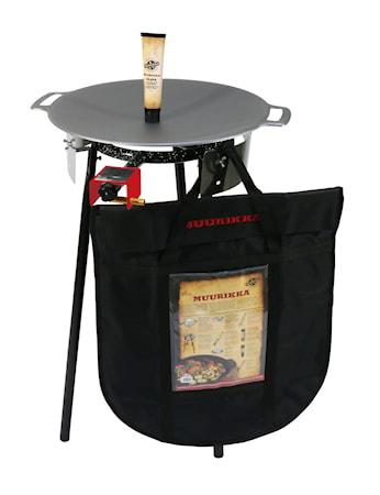 Sæt med gasbrænder, beskyttelsespose, stegefedt og stegeplade på 48 cm