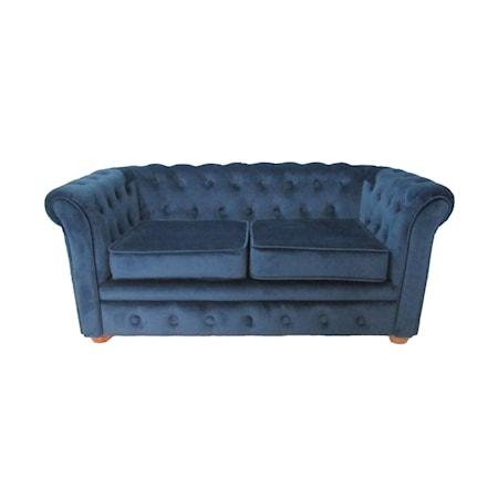 Soffa Chesterfield sammet blå