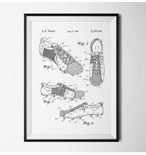 Patent fotbollsskor vit poster