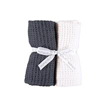 Kjøkkenhåndduk 2-pakk - Hvit/Blå