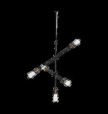 Taklampa Molecular 5 68 cm - Mässing/svart