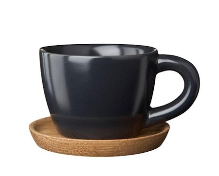HK Espressokuppi 10 cl, Grafiitinharmaa puualustalla
