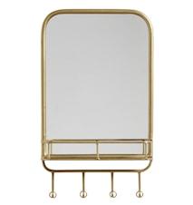 Spegel med hylla Metal Gold