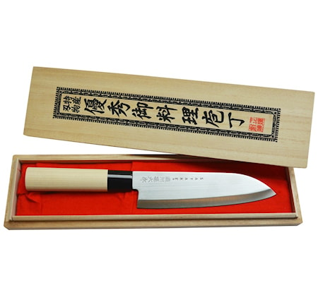 Houcho Santoku-kokinveitsi balsapuulaatikossa 17 cm